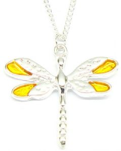 Yellow Enamel Wings Dragonfly Necklace